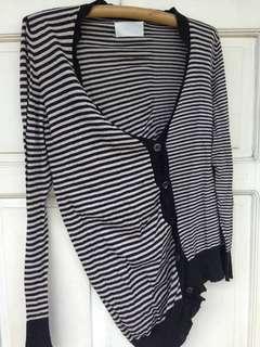 [HOLIDAY SALE] MAISON MARTIN MARGIELA Line 0 Striped Cotton Deconstructed Cardigan