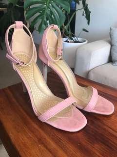 Misguided suede dusty rose stilettos heels