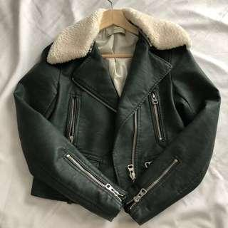 Zara Green Faux Leather Biker Jacket with Shearling on Collar (Size XS)