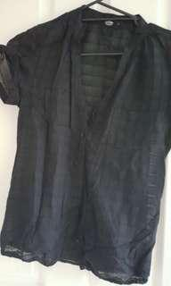 Guess see thru black short sleeve shirt