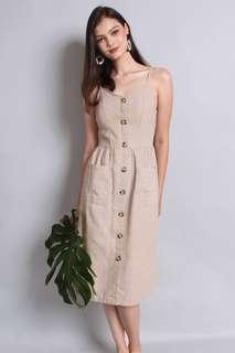 [Neonmello] Buttoned Stripes A-line Midi Dress