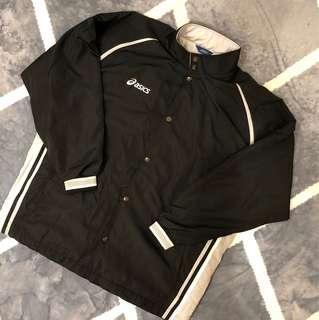 🚚 (有實穿)Asics亞瑟士黑色風衣外套