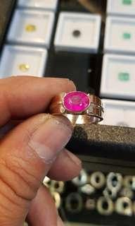 Pink Sapphire or Ruby in Suasa 9k ring