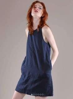 Grana Navy Linen A-line Dress