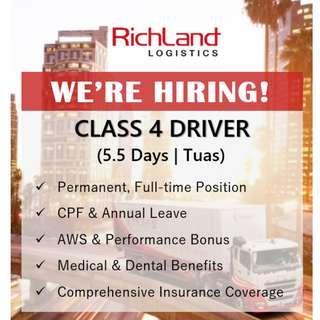 Class 4 Driver (5.5 Days | Tuas | AWS Bonus)