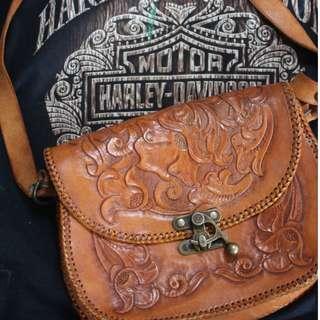 Vintage Hand Tooled Brown Leather Shoulder Bag