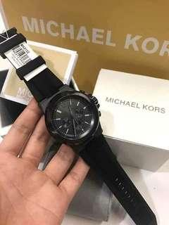 MK DYLAN ALL BLACK RUBBER STRAP AUTHENTIC WATCH