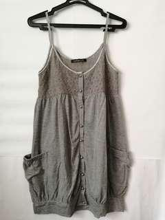 Estacot Grey Baby Doll Dress with Lace detail