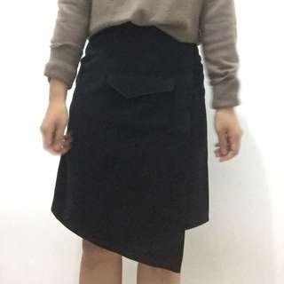 Hardware wrap asymmetric skirt