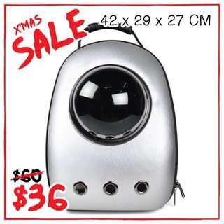 """Metallic Silver"" Astronaut Capsule Cat Bubble Backpack Carrier"