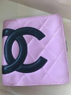 Chanel 康朋 粉紅色羊皮皮夾