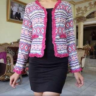 Blazer / Outer Pink Tribal Batik