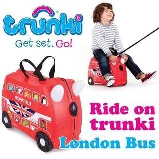 BN Brand New Auth Trunki Kids Luggage Red Boris the London Bus Girl Boy Kid Travel Bag Suit Case Kids Suitcase Personalised Customised Stickers