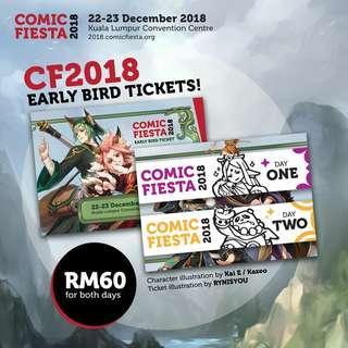 Comic Fiesta 2018 Day 2 Early Bird Tickets x3