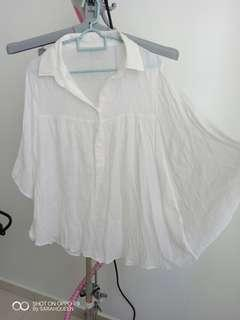 white batwing blouse flare cut