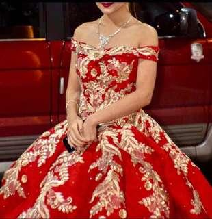 Red And Gold Ball Gown for RENT