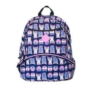 Tas Backpack Okiedog Freckles Kangaroo Bag Owl blue pink