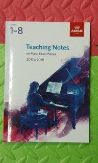 ABRSM Teaching Notes on piano exam pieces 2017& 2018 grade 1-8