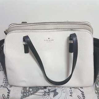 Kate Spade New York handbag 黑白皮袋 可放A4 (可做側孭袋/手挽袋)