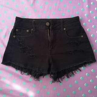 AEO Black Denim Shorts