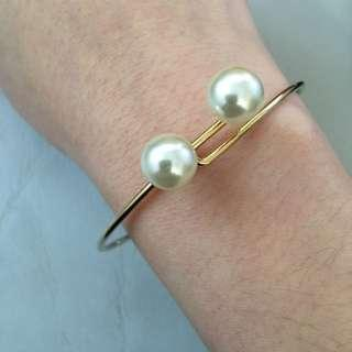 ASOS gold-plated faux pearl bangle 鍍金珍珠手鈪 (postage included 包郵) #滄海遺珠