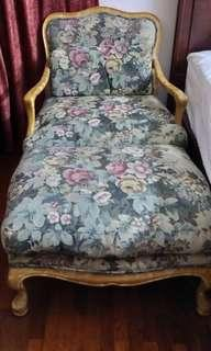 Wing chair ottoman