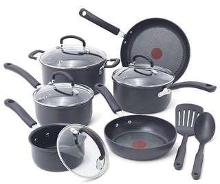 Authentic T-fal Ultimate Hard Anodized Scratch Resistant Titanium Nonstick Thermo-Spot Heat Indicator Anti-Warp Base Dishwasher Safe Oven Safe PFOA Free Cookware Set,12-Piece Gray