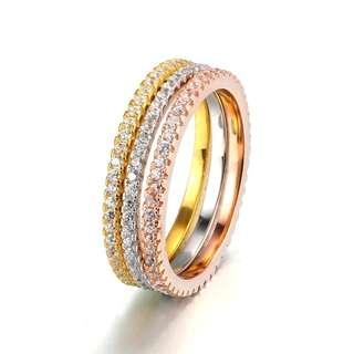 Tricolor Eternity Ring Set (Set of 3)