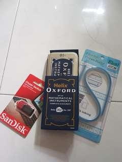 Grab bag Math set ; flexible ruler ; thumb drive