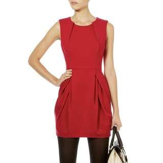 Karen Millen Red Jersey Bubble Pleat Dress