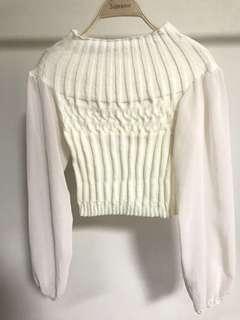 🚚 短版針織 透膚雪紡紗袖