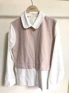 🚚 假兩件式粉色襯衫
