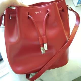 Agnes B 手袋 紅色 皮質 桶形袋 聖誕禮物 Christmas Gift
