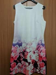 White dress with pink rose prints