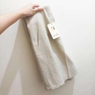 🚚 棉麻短版造型寬褲(實拍)