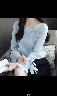 Blue Blouse with Trumpet Sleeve