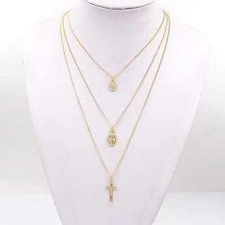 Plated Gold 3 Layered Necklace