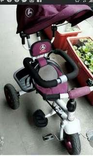 嚴選-【時尚貼心安全設計】幼兒推桿後控制方向多功能三輪車遮陽防曬可簡易拆解把手推桿推車附踏板護欄置物籃