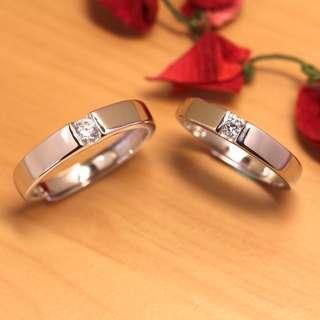 🚚 [Christmas Sales]Silver ring with diamond, couple ring, wedding bands, Free size, WB002