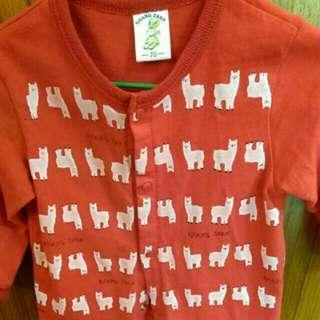 尺碼70 長袖紅色綿羊兔裝