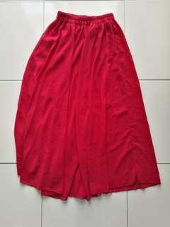Maroon chiffon maxi skirt