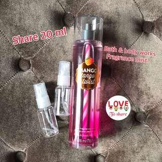 Bath & body works fragrance body mist share in botol spray 20ml