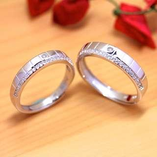 🚚 [Christmas Sales]Grooved diamond ring, 925 silver with white gold-plated ring, Wedding band, Couple rings, Free size, WB005