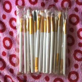 20pcs White & Gold Makeup Brushes