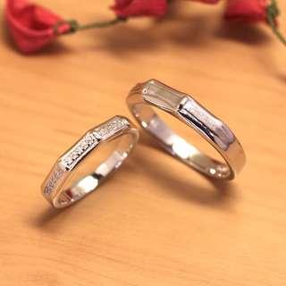 🚚 [Christmas Sales]Bamboo Ring, 925 Silver with white gold plated, wedding band, couple rings, Free size, WB006