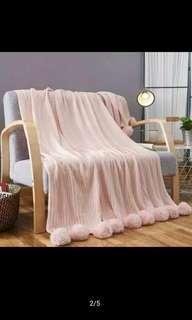 blanket Pompom /selimut rajut 450