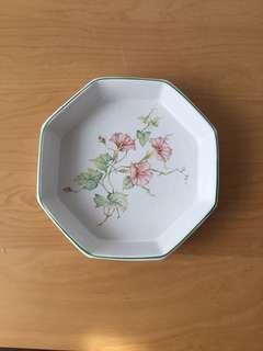Ceramic Octagon Plate with Floral Design