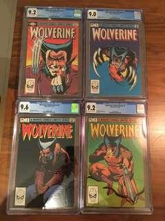 Wolverine 1982 Limited Series #1 to #4 Set Of 4 CGC Marvel Comic Books