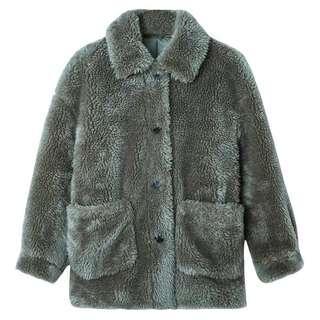 🚚 秋冬羊羔毛長袖抹茶綠外套