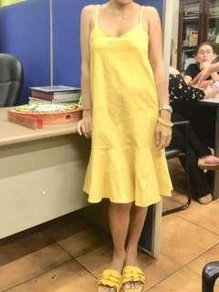 Yellow ruffled dress